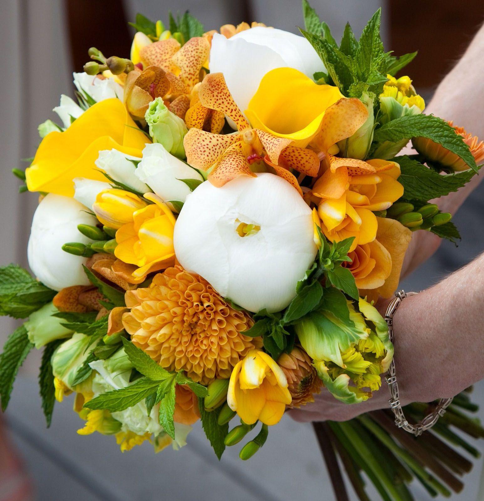 Vermont Wedding Flowers: White Peonies, Orange Dahlias, Yellow Callas, Tulips