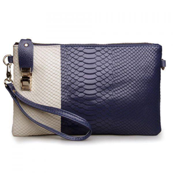 Graceful Color Block and Snake Print Design Women s Clutch Bag ... c712b7ca27a23