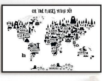Animal world map print kids world map poster by printasticstudio animal world map print monochrome nursery world map adventure nursery map art kids world map poster black white scandinavian nursery decor gumiabroncs Images