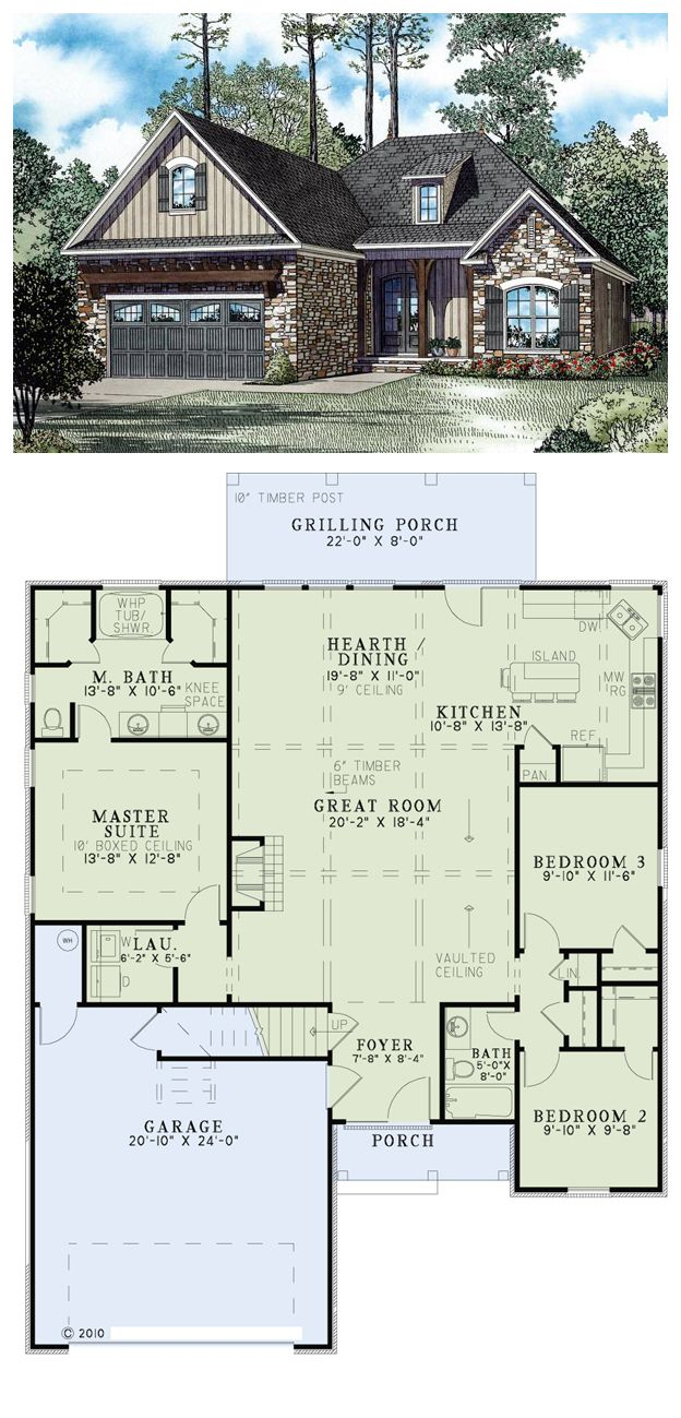 Superior House Plan 82272 | Total Living Area: 1572 Sq Ft, 3 Bedrooms U0026 2 Bathrooms.  An Abundance Of Charm Is Found Throughout This European Style Home.