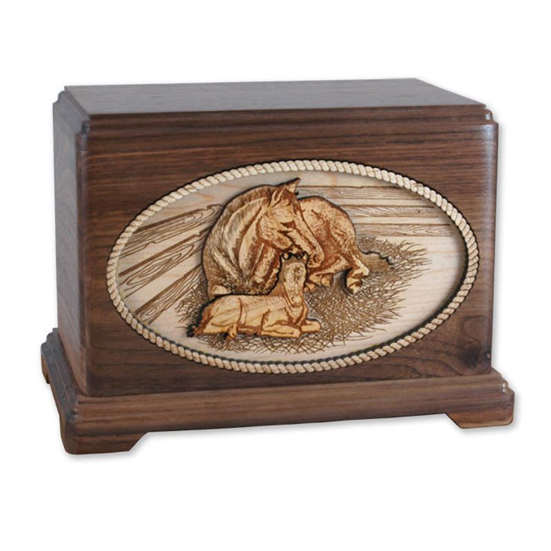 Horse and Filly Wooden Cremation Urn