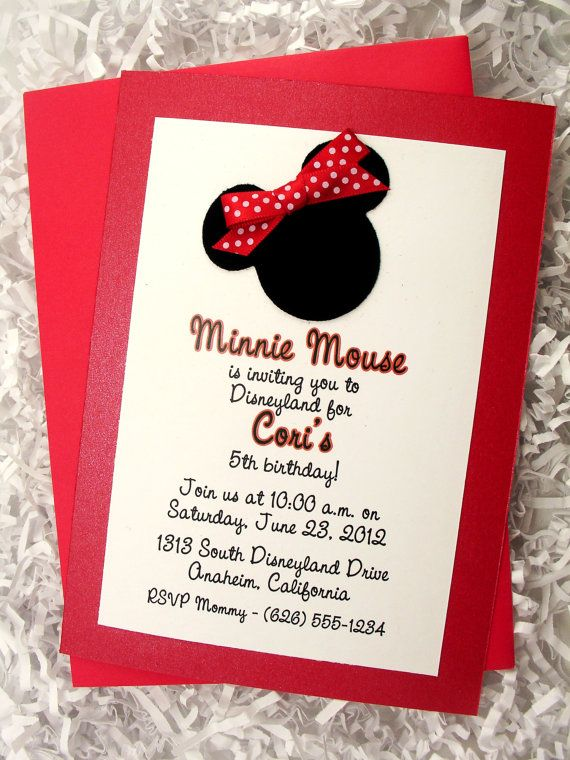 Minnie Mouse Invitations Red Handmade Velvet Double Layer 10