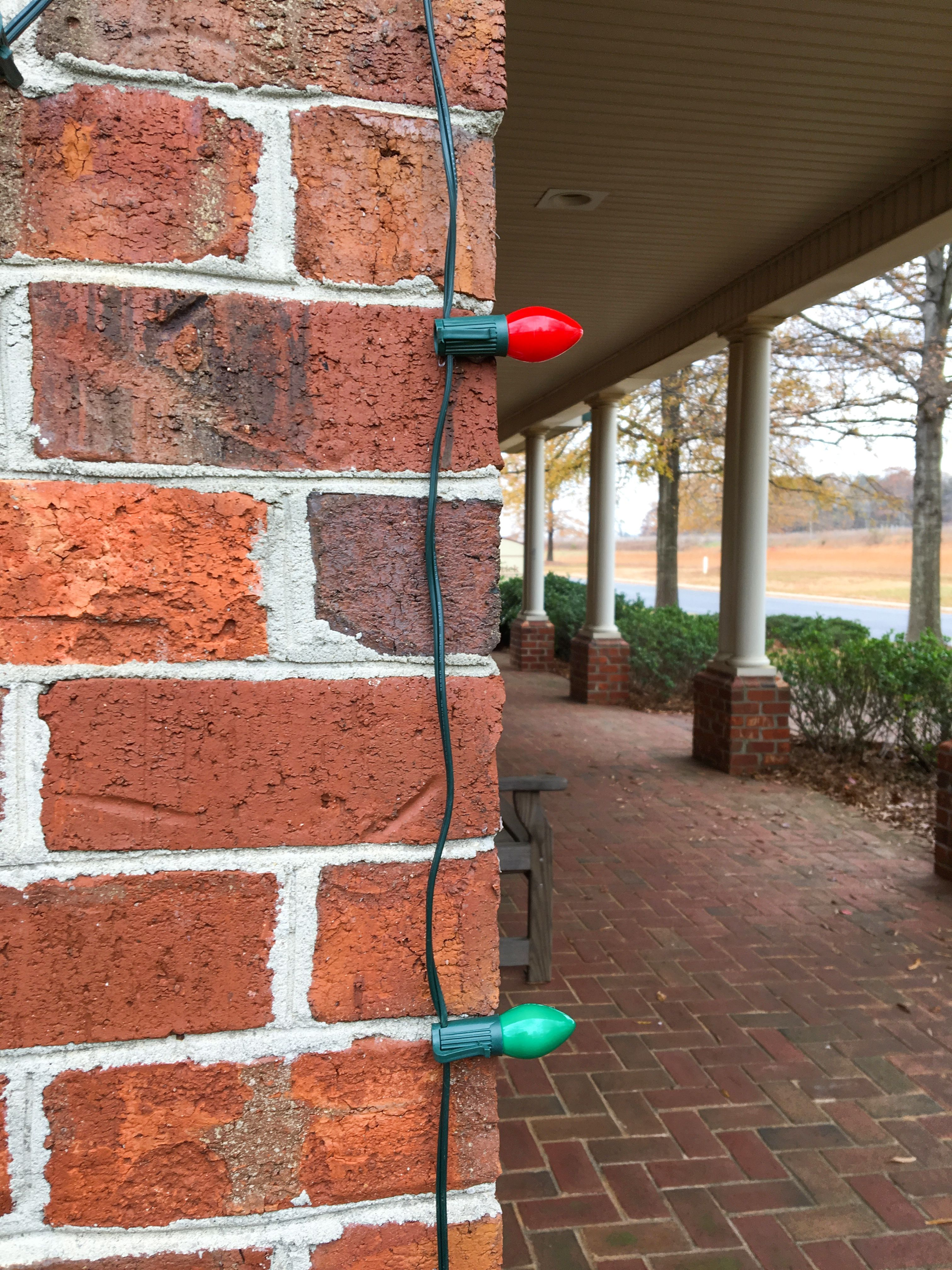 how to secure christmas lights on a brick exterior