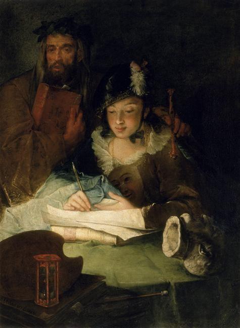 Alessandro Longhi, La PEinture et mérite, XVIIIe siècle, huile sur toile, Venise, Galleria dell'Accadémia.