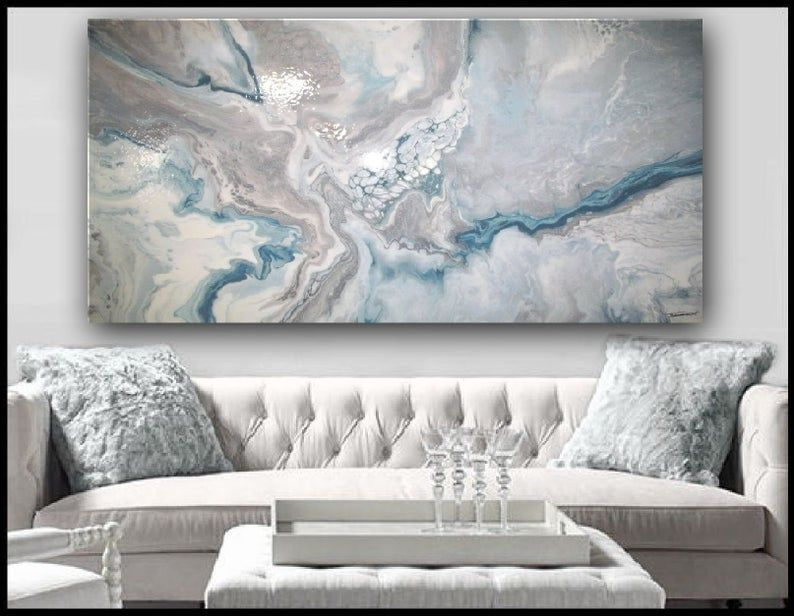 High Gloss Resin Painting Modern Canvas Wall Art Colors Of Silver And Teal And Ready To Hang Resin Wall Art Modern Wall Art Canvas Blue Wall Art