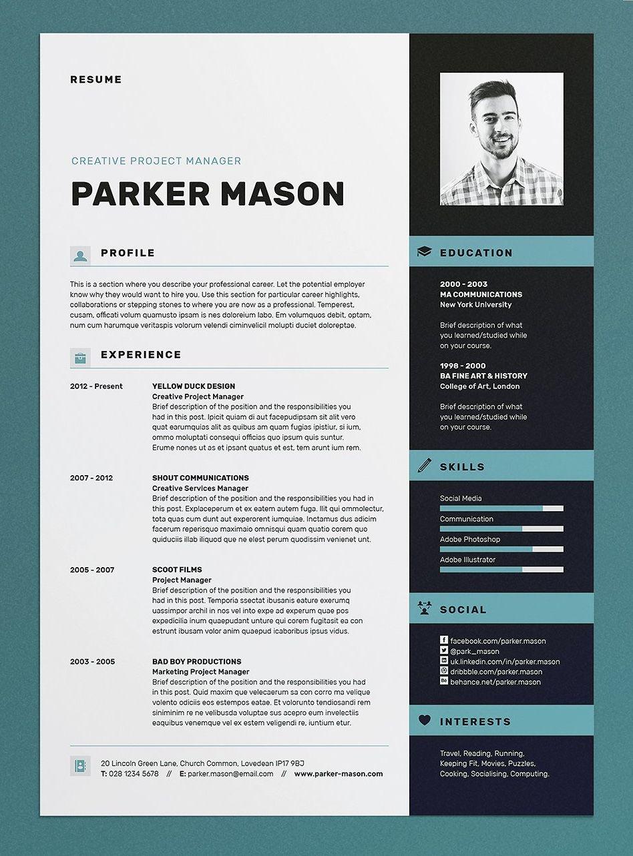 Resume Cv Parker Resume Cv Template Indesign Inspiration