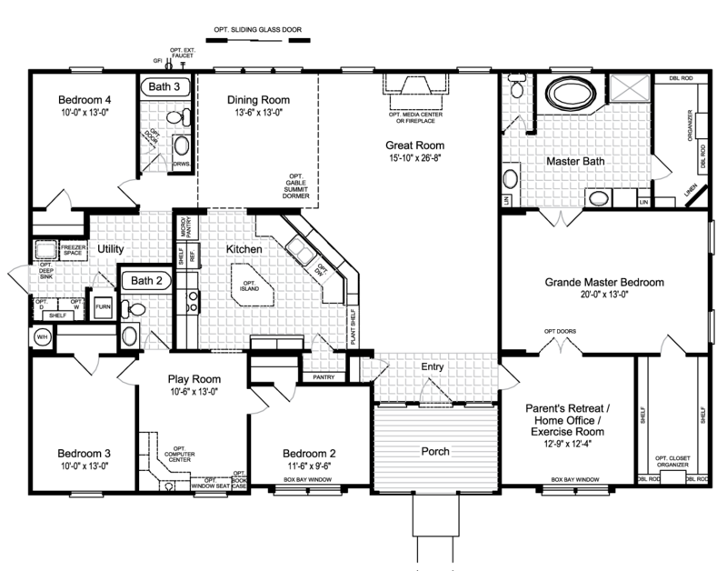 Floor Plan The Hacienda Ii Vrwd66a3 Modular Home Floor Plans Manufactured Homes Floor Plans Modular Home Plans