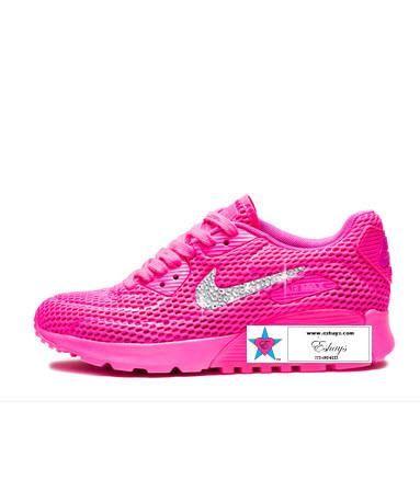 Custom Rhinestone Women AIR MAX 90 ULTRA Breathe Running Shoes PINK BLAST 9960f560e
