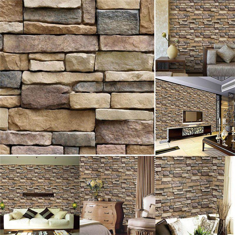 3d Modern Brick Stone Style Wallpaper Bedroom Living Mural Roll Wall Background Home Garden Home Improve Brick And Stone Wallpaper Bedroom Wall Background