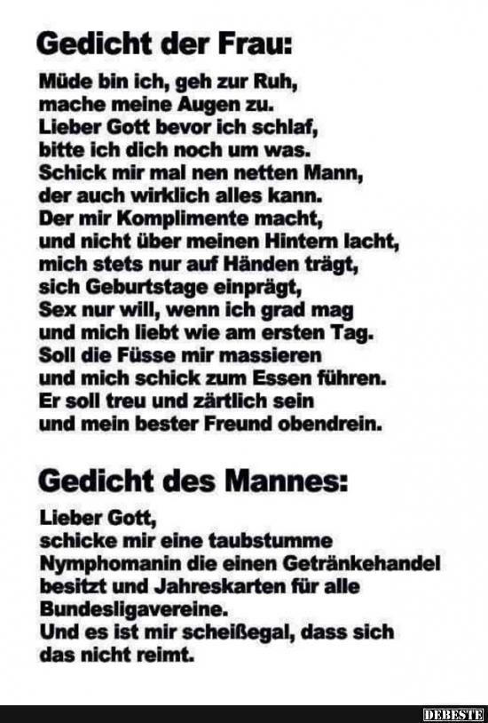 Gedicht Der Frau Des Mannes Lustige Bilder Sprüche