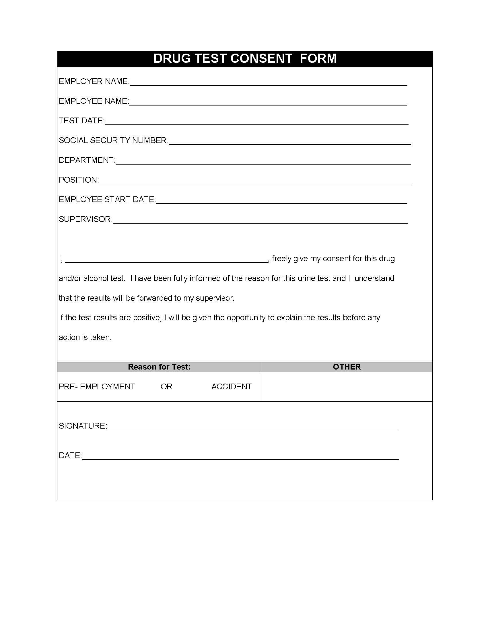 Restaurant Employee Drug Test Consent Form  Restaurant Owner