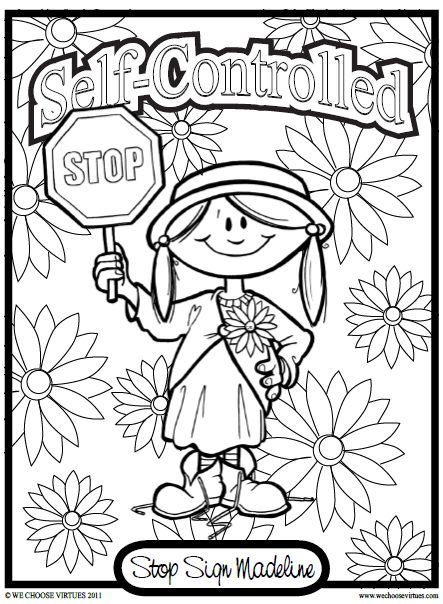 Self Control Coloring Pages For Kids Virtues Is Working On An