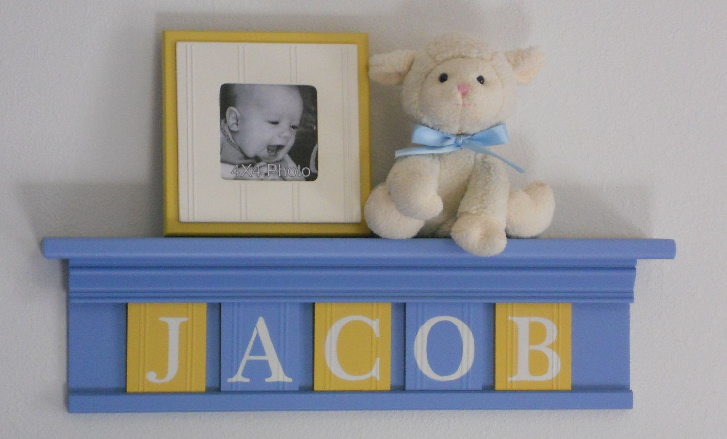 Baby Boy Light Blue Yellow Nursery Decorations Name Sign On Shelf With Wooden Letter Tiles