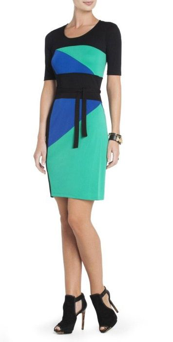 "$145.00 Embrace bright color-blocking for day with this simplyversatile dress. Round neck. Short sleeves. Classic fit.Color-blocked construction. Tie belt at waist.Measures approximately 37.25"" from shoulder to hem.Jersey: Polyester.Imported. Machine Wash"
