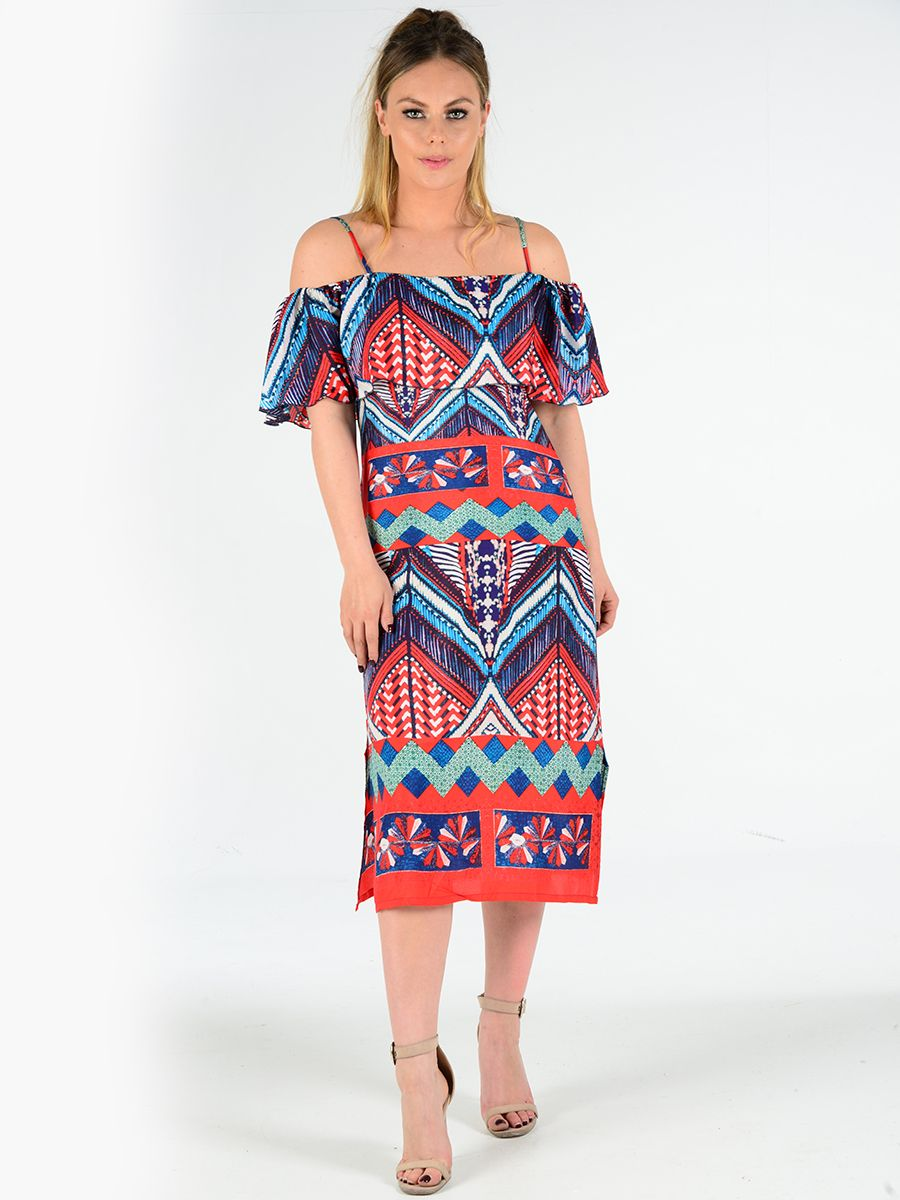 e97593c96ba Aztec print midi length dress just landed. Comes with an on trend bardot  style design