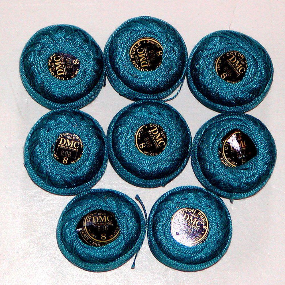 8 DMC Perle Pearl COTTON CROCHET Thread Balls SIZE 8 France #806 NEW 95 Yds #DMC