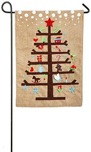 Evergreen Charlie Brown Christmas Tree Burlap Garden Flag 125 X 18 Inches  ** See This