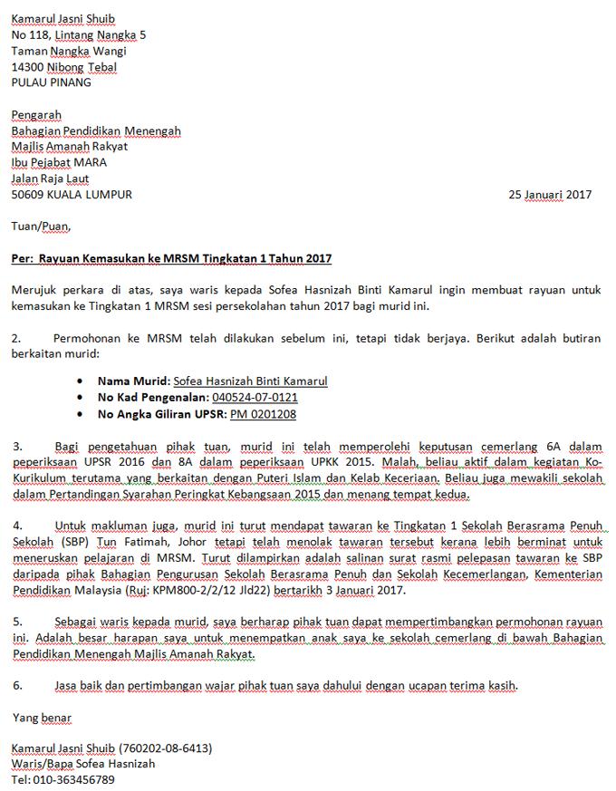 Format Contoh Surat Rayuan Mrsm Surat Kekasihku Pengusaha