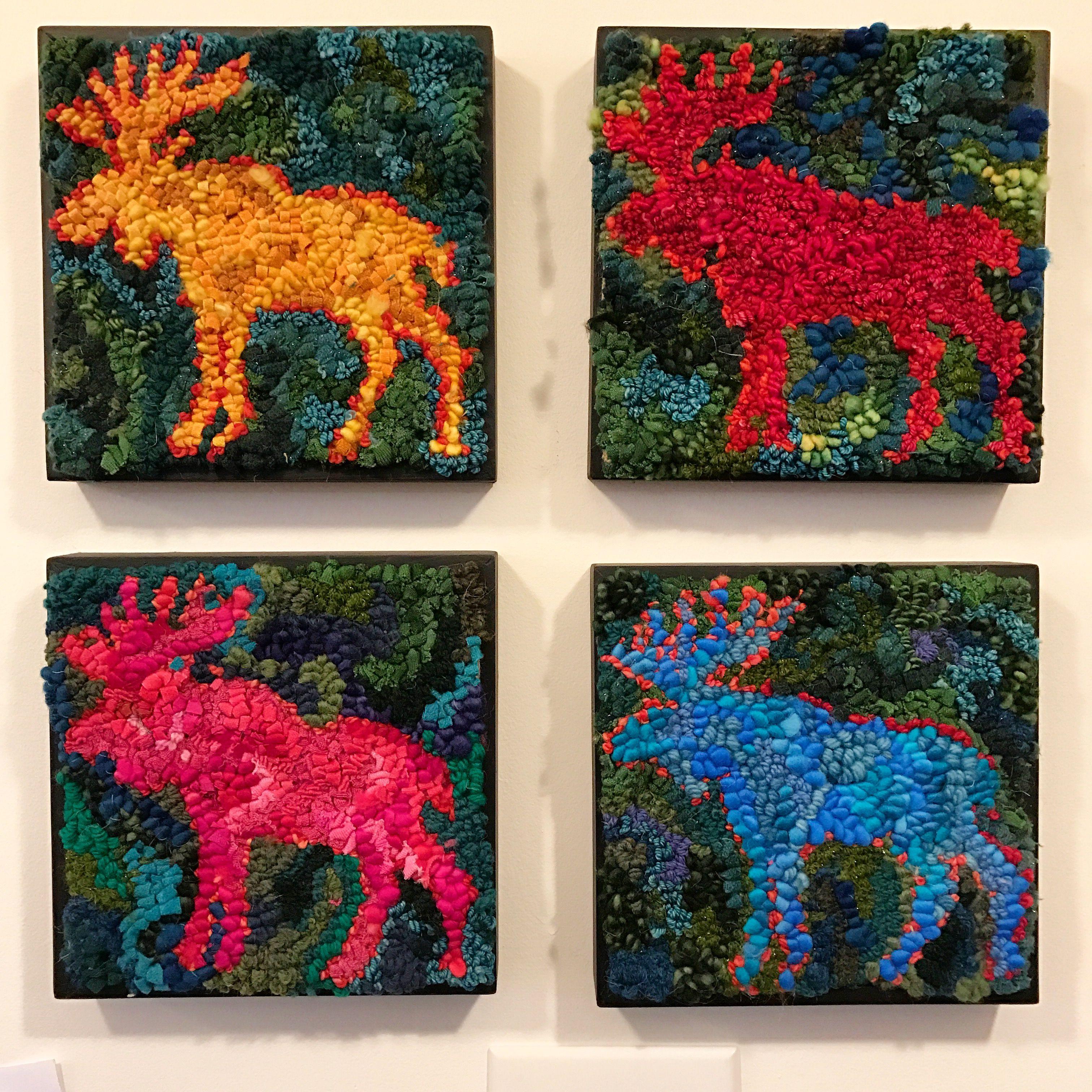 Moose Rug Hooking Kit: Colorful Mooses By Deanne Fitzpatrick. Orange, Red, Hot