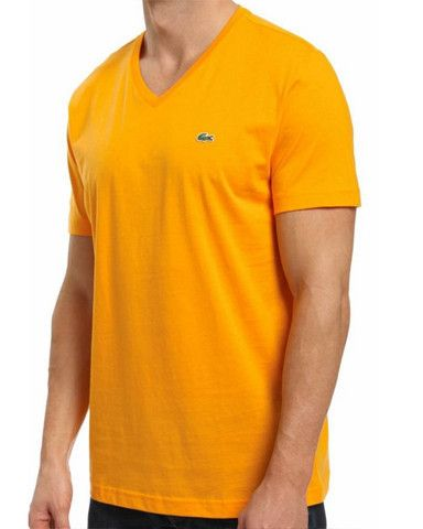 LACOSTE MEN'S TANGERINE COTTON ATHLETIC V-NECK T-SHIRT