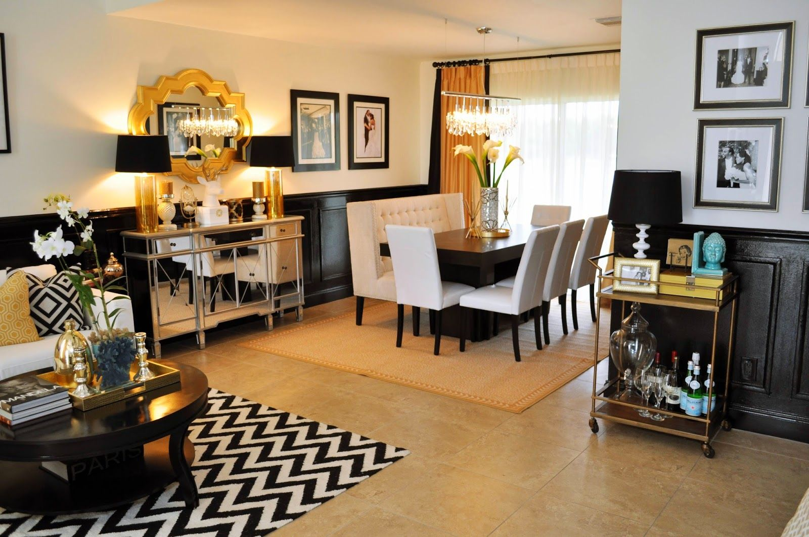 Interior Design Living Room Dining Room Home Reveal Gold Living Room Decor Black And Gold Living Room Gold Living Room