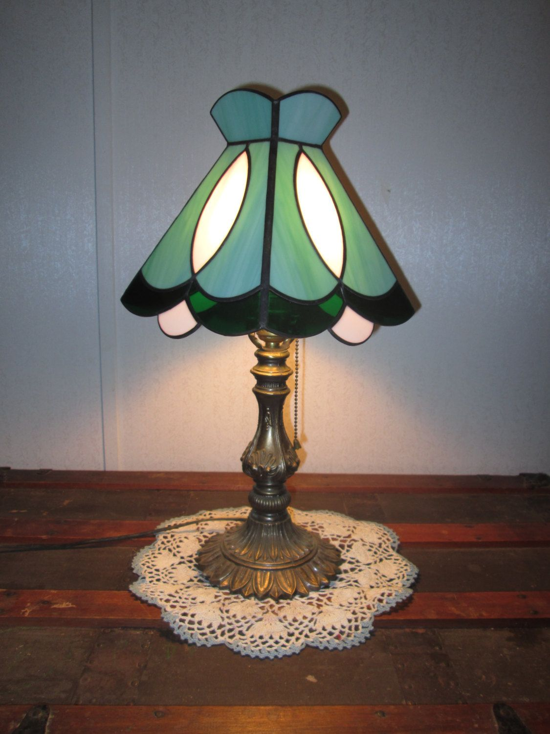 Stained glass lamp shade green with emerald green accents stained glass lamp shade green with emerald green accents aloadofball Images