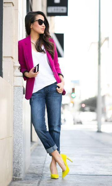 fa726fe042 Look  Blazer Rosa + Scarpin Amarelo