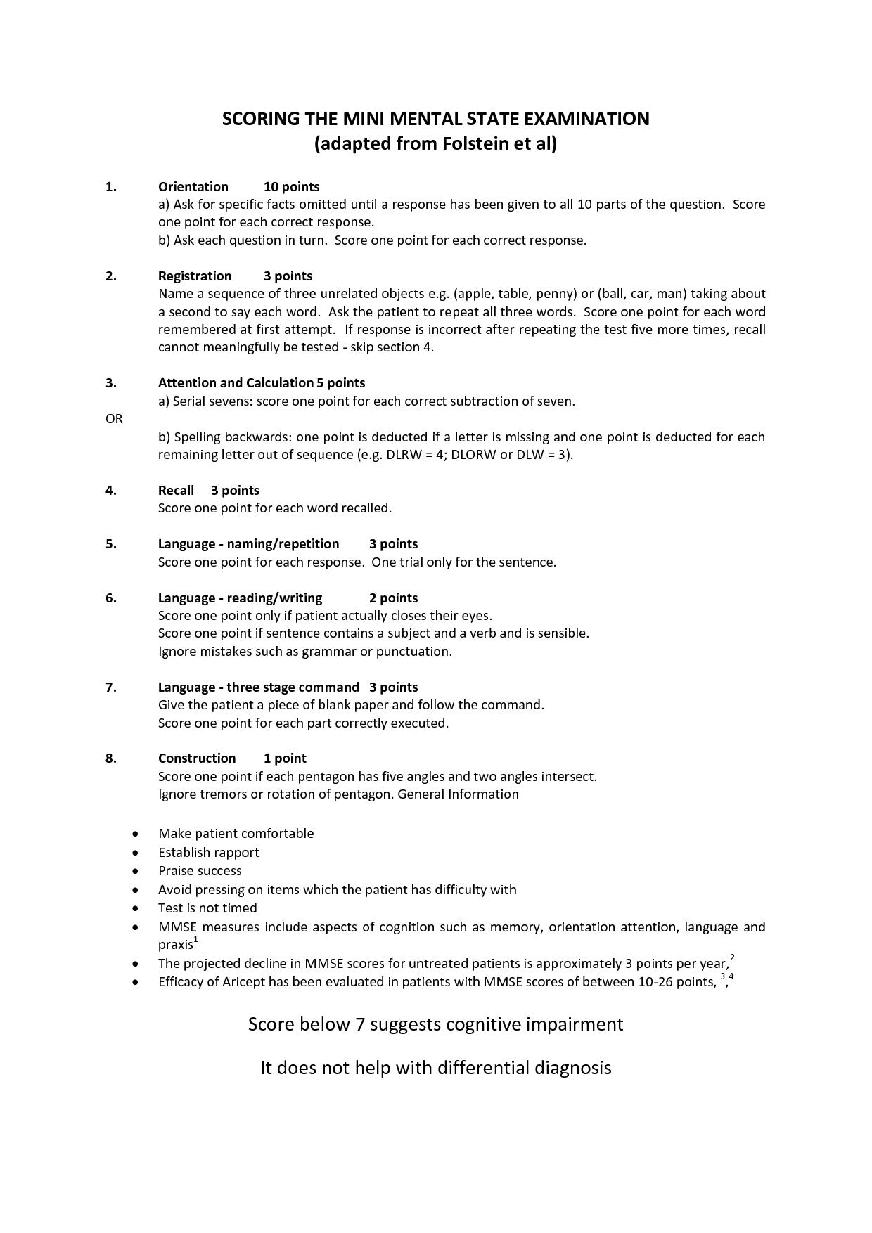 Von mental status exam oriented mar 2016 b cher verkaufen folstein mini mental status exam form printable screening tool the mini mental state examination