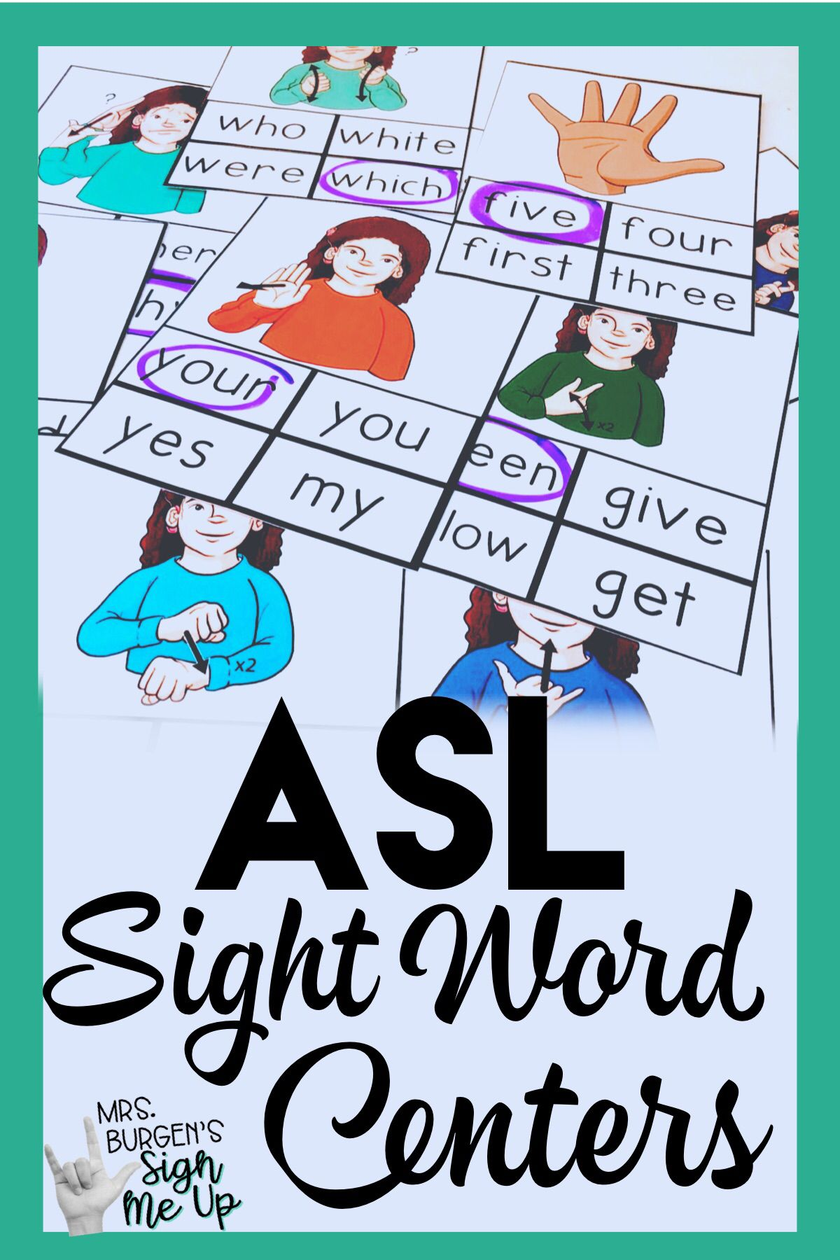 Asl Sight Word Centers Second Grade Bundle