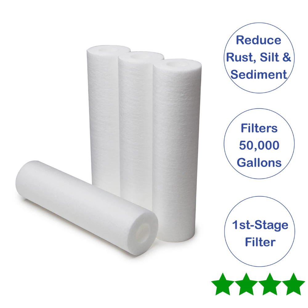 Austin Springs Whole House 4 Pack 10 Pre Filter Replacement Cartridges Filters Water Filtration Emergency Preparedness Items