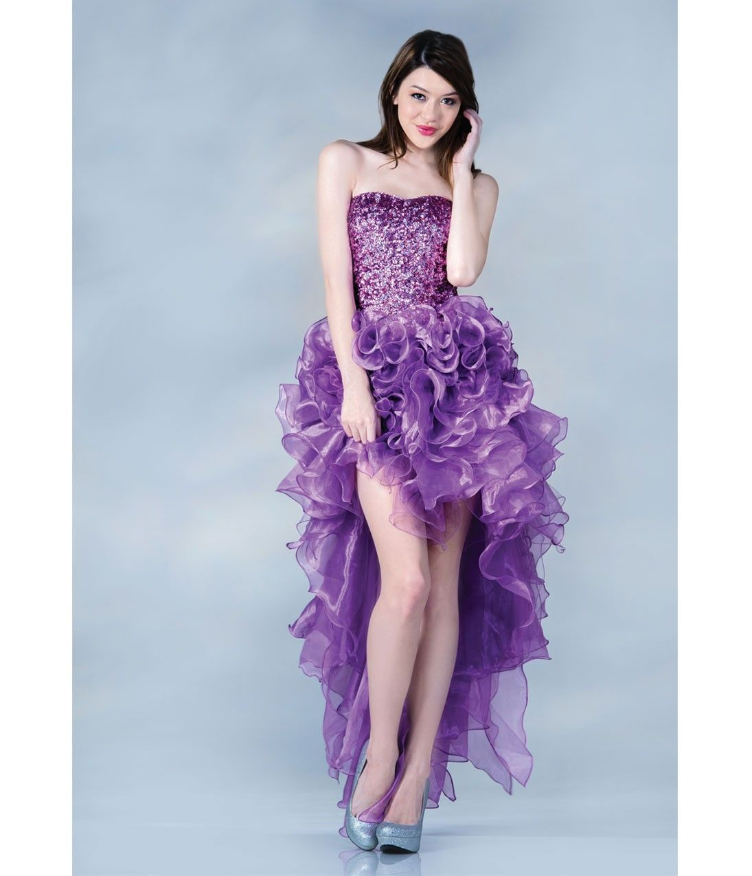 Light purple sequin u tulle highlow gown homecoming high