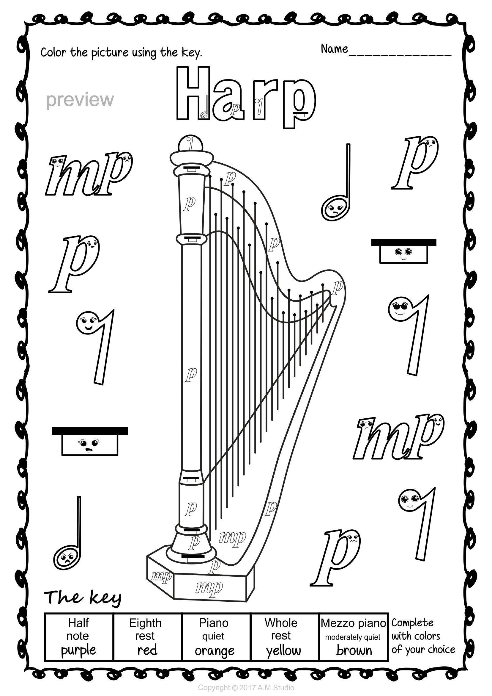 Пин на доске раскраска музыкальные инструменты