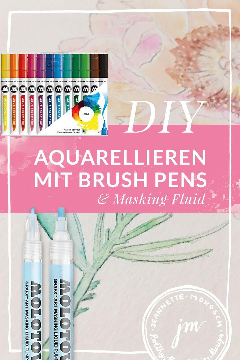 Aquarellieren Mit Wasserbasierten Brush Pens Typografie Und