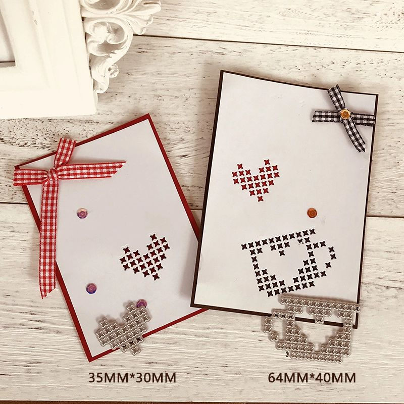 4pcs//set Love Heart Stitch Holes Scrapbooking Metal Cutting Dies Card Making
