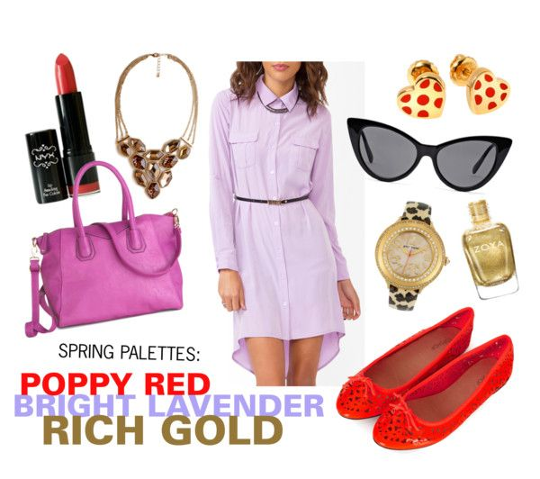 Spring Palettes: Poppy Red, Bright Lavender, Rich Gold #outfit #style #fashion