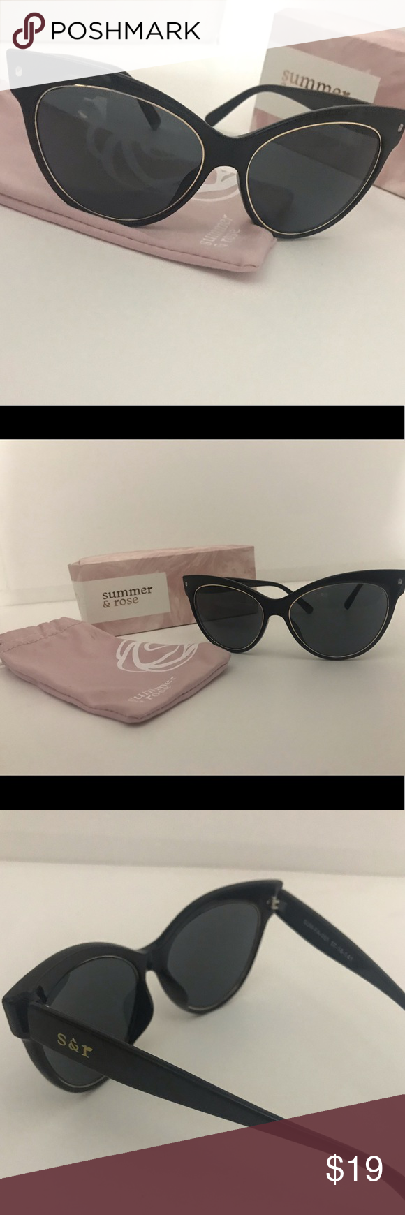 97bad438b5cfc Summer and Rose Cat Eye Sunglasses Shiny black cat eye sunglasses. Get the  mysterious look with these stylish sunníes. Gold details around the lenses  give ...