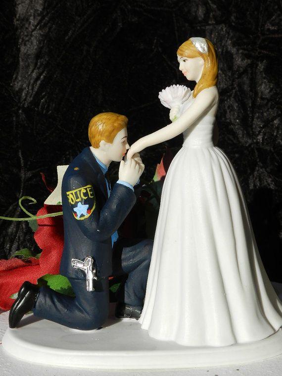 Police Officer Cop groom kiss bride hand wedding cake topper KNEEL ...