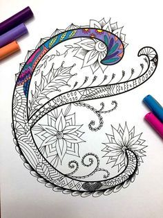 Letter E Zentangle Inspired By The Font Etsy Zentangle Coloring Pages Lettering