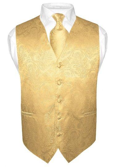 Men's Gold Color Paisley Design Dress Vest and NeckTie Set for Suit or Tuxedo