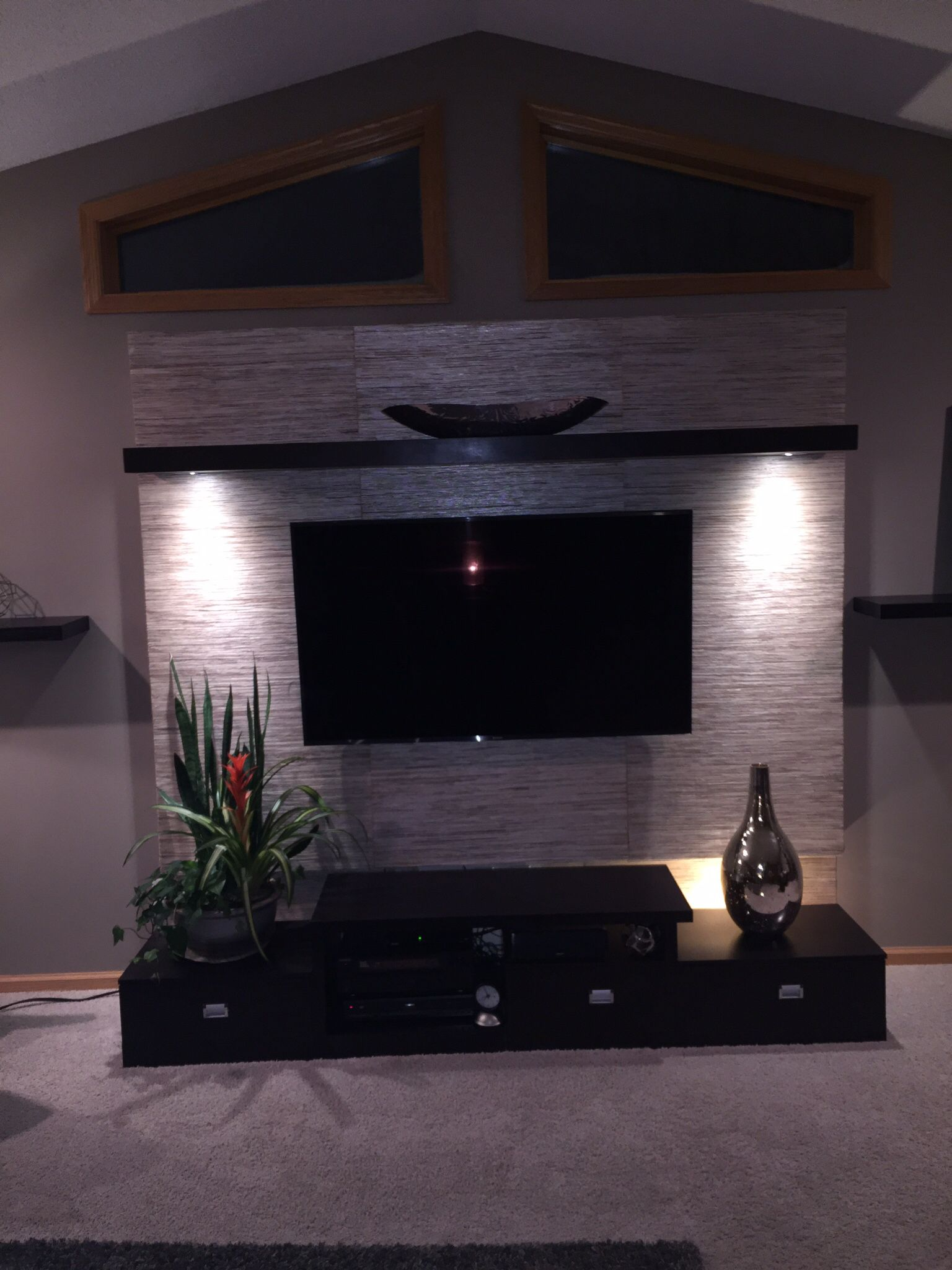 Tv Panel Made From Plywood 2 X 4 S And Grass Cloth Wallpaper  # Meuble Tv Made In Design