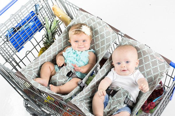 Our comfy Binxy Baby shopping cart hammock in elegant Grey & Aqua Qautrefoil print quickly and easily clips onto most carts, hangs elevated so you have plenty of room for groceries, then simply rolls