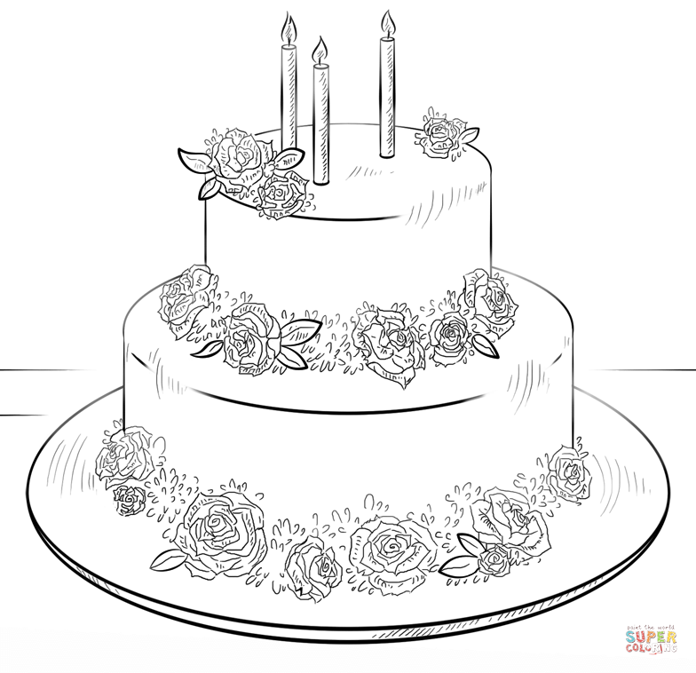 Big Birthday Cake Coloring Page Free Printable Coloring Pages Cake Drawing Cake Illustration Birthday Cake Illustration