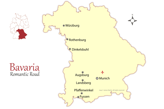 map of the romantic road in bavaria showing the major cities to stay in this