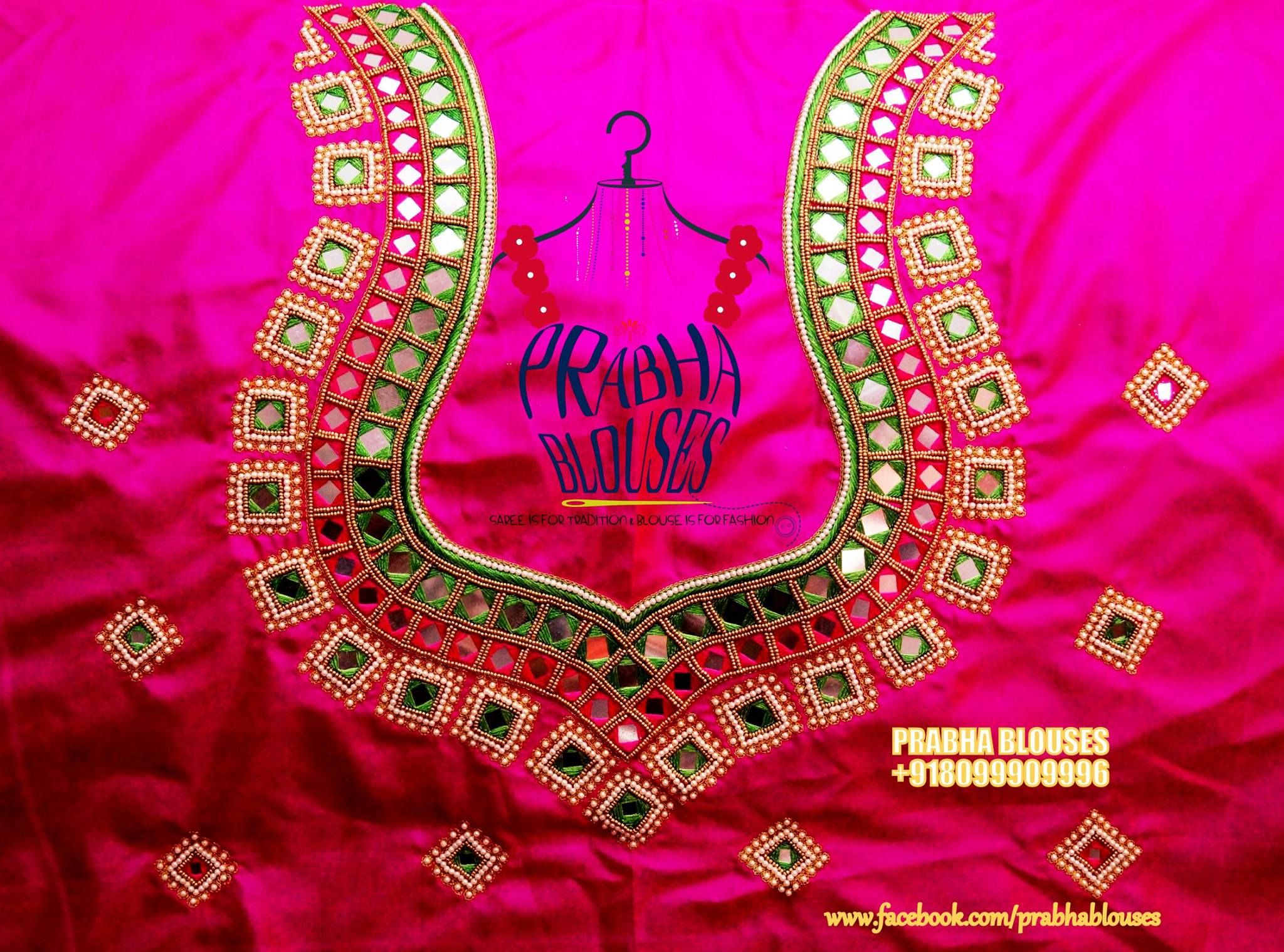Https Www Facebook Com Prabhablouses Photos A 229270433911026 1073741828 228745977296805 7 Mirror Blouse Design Mirror Work Blouse Design Maggam Work Designs