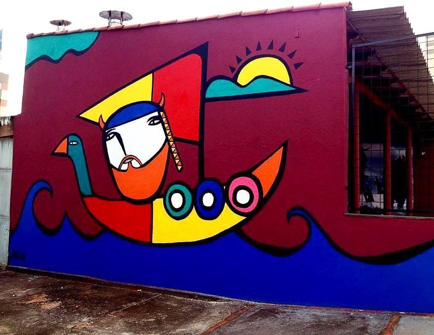 Viking by @muzaiart in #brazil -- http://globalstreetart.com/muzai ...