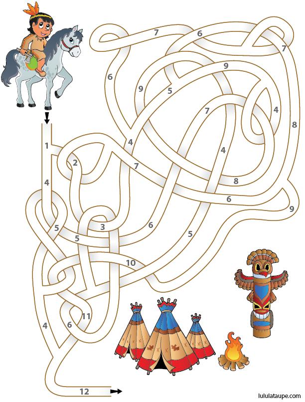 Jeu de labyrinthe à imprimer pour apprendre à compter | Jeux indien, Jeux gratuits pour enfants ...
