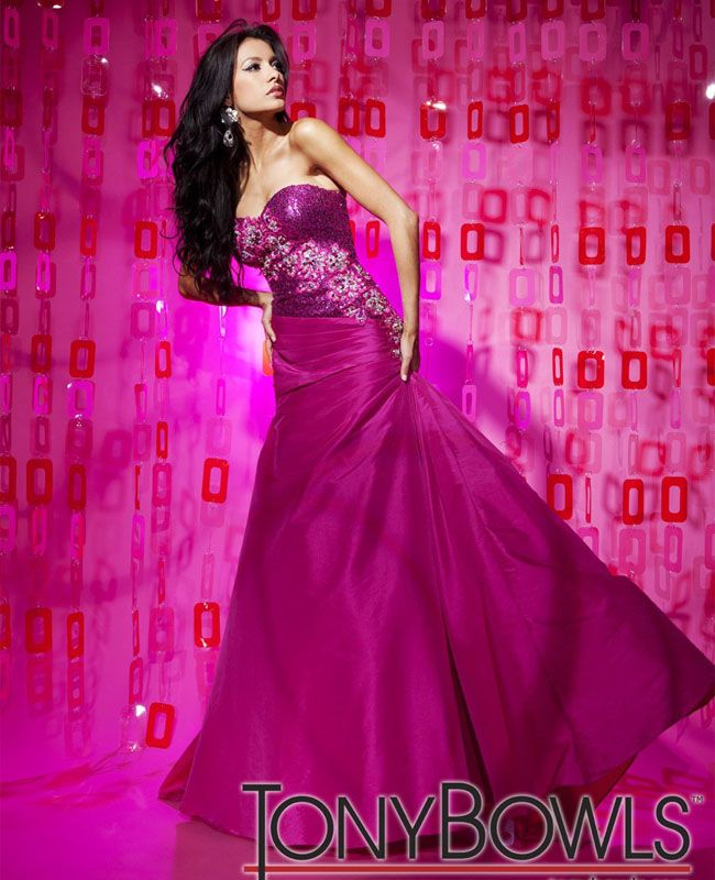 TONY BOWLS 112524 Fuchsia $450 Prom Dress Evening Gown - BRAND NEW ...