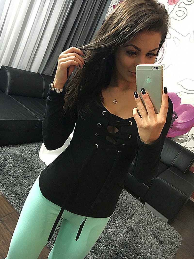 2016 5 Colors Bottoming Shirt Spring Long Sleeve Lace Up Tops Ladies Casual Shirts Fashion Slim Bandage Women Tops LX068