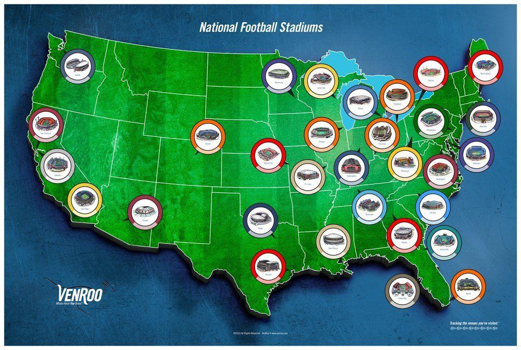 Pro Football Stadium Map Poster Sports