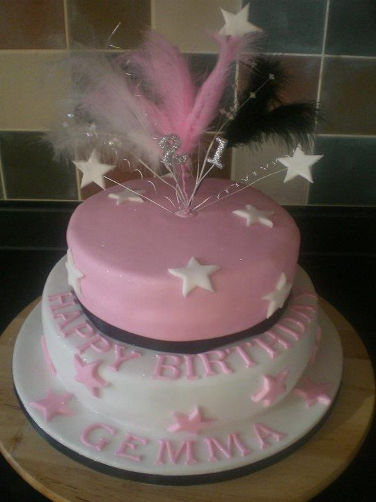Pink And White 2 Tiered Birthday Cake Birthday Party